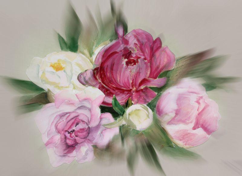 BlumenAquarell mit Bluss Effekt