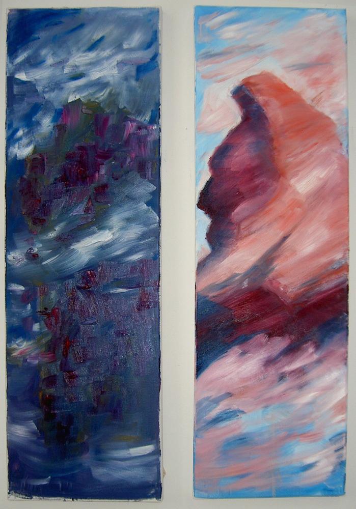 Der fliegende Berg, nach einem Roman von C.Ransmayr. Diptychon, Öl auf Leinwand, je 120 x 30 cm.
