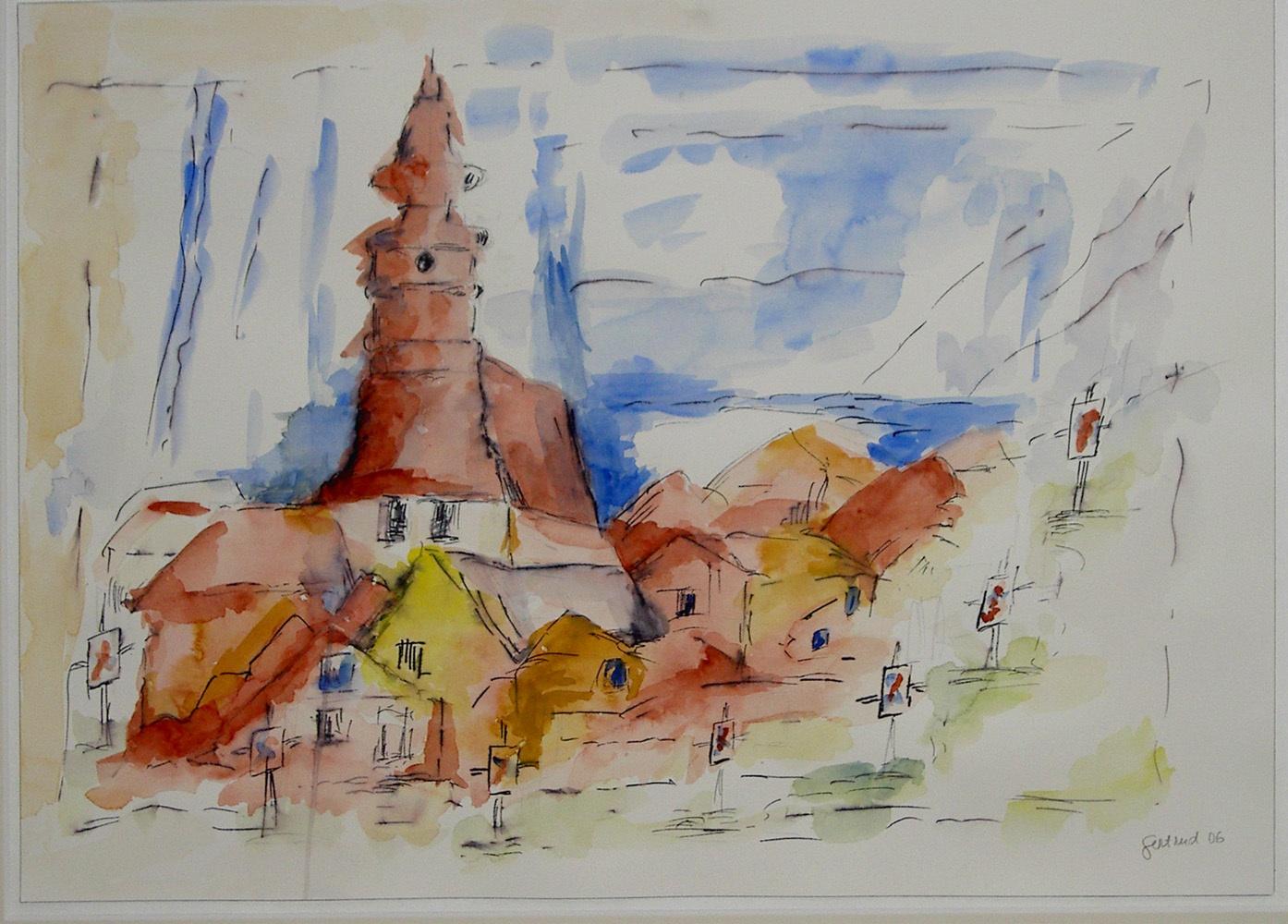 Annaberger Vision. Aquarell auf Papier, 35 x 46 cm. 1. Preis beim 2. Annaberger Aquarellwettbeweb.