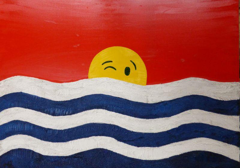 Koketterie mit dem Untergang (in Anlehnung an die Flagge von Kiribati) oder Seele des Menschen,  Wie gleichst Du dem Wasser!